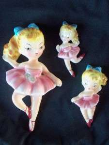 VTG LEFTON BALLERINA GIRL LADY CERAMIC WALL PLAQUES