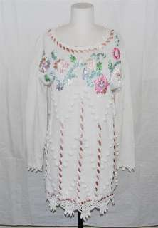 WHITE CROCHET LACE BOTTOM SNOWBALLS EMBROIDERED SWEATER DRESS