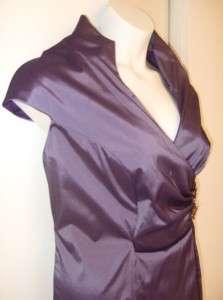 XSCAPE purple satin JEWELED waist stretch PARTY DRESS VNECK new PLUS