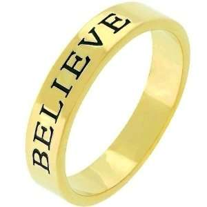 14k Yellow Gold Plated Eternity Believe Band Ring Size 6 Jewelry