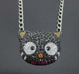 XL HELLO KITTY CHOCOCAT black crystal Chain Necklace Xmas gift best