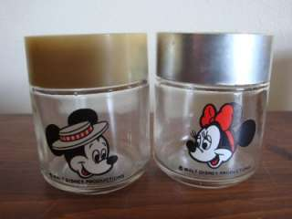 VINTAGE DISNEY Mickey & Minnie Mouse GLASS S&P SHAKERS