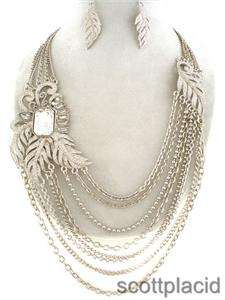 Chunky Silver Tone Leaf Theme Crystal Bib Costume Jewelry Earring