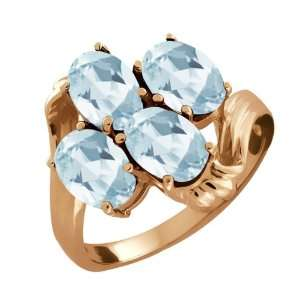 Ct Oval Sky Blue Aquamarine Gold Plated Sterling Silver Ring Jewelry
