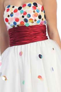 SHORT FUN PROM DRESS POLKA DOTS EMPIRE WAIST GRADUATION