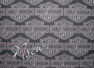 HARLEY DAVIDSON MOTORCYCLE Fabric SILVER LOGO on BLACK