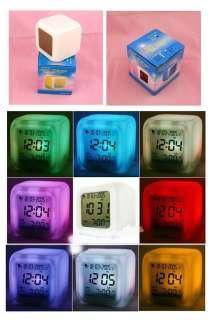 LED Seven Shine Colorful alarm clock for Dark night Children Christmas