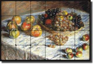 Monet Fruit Apple Kitchen Tumbled Marble Tile Mural Art