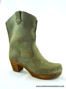 Sanita Lee Ann Cowboy Style Clog Boots in Grey/Green