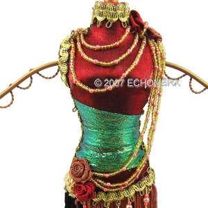 Beaded Tassel Dress Doll Jewelry Stand Burgundy Red new