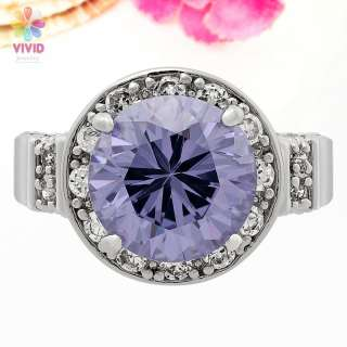 Fashion Gift Round Cocktail Purple Tanzanite 18k White Gold Plated