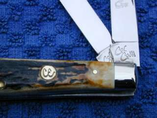 COLONEL COON BY QUEEN CUTLERY GENUINE STAG MINI TRAPPER KNIFE USA LE