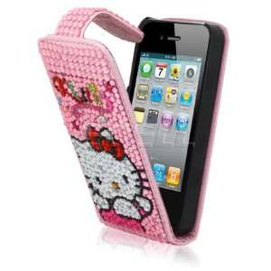 Ecell   PINK KITTY WINGS LEATHER BLING FLIP CASE FOR