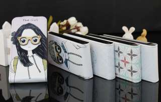 Comely Girl W/Glasses Leather Pouch Flip Case Cover Skin For iPhone 4G