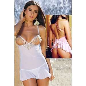 fine white silk satin silhouette baby doll has open cups and a sheer