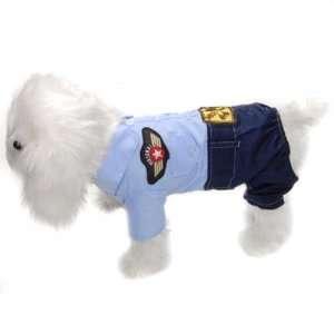 Cool Pet Dog Puppy Coat Clothes Apparel Blue  Uniform S