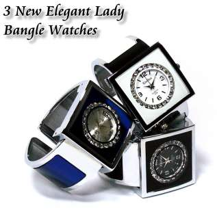 New Elegant Lady Crystals Bangle Watches b187u