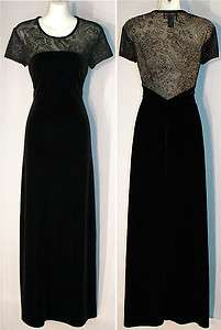 Connected Black Velvet Full Length Cocktail Dress Size 6