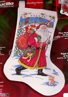 Bucilla WOODLAND SANTA Counted Cross Stitch Christmas Stocking Kit   S