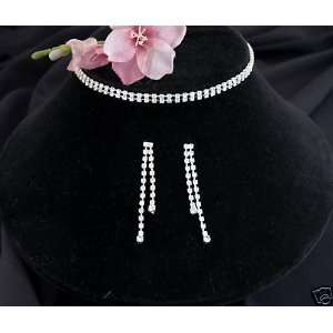 Bridal Wedding Prom Bridesmaid Necklace Earring Jewelry Set Crystal