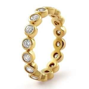 Cubic Zirconia Round Eternity Cz Bridal Wedding Band Gold Plated Ring