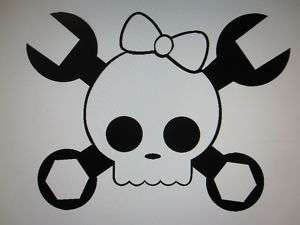 Girl Skull and Crossbones wrench sticker decal 21colors