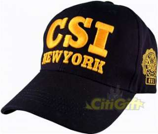 CSI NY NEW YORK BASEBALL CAP HAT NAVY ADULT EMBROIDERY