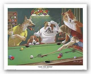 DOGS PLAYING POOL Jack the Ripper by Arthur Sarnoff