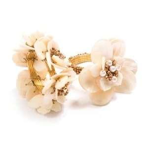 Kim Seybert Flower Pearl Set of Four Napkin Rings   Ivory