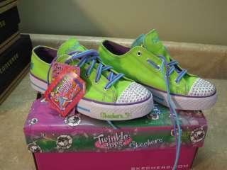 New SKECHERS Twinkle Toes SHUFFLES Lime/Purple SHOES