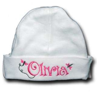OOAK Custom Embroidered Monogram Baby Beanie Hat ~CUTE~