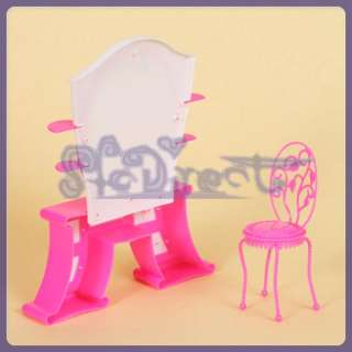 Dollhouse Bedroom Furniture Dressing Table Chair Set for Barbie Doll