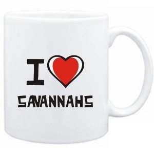 Mug White I love Savannahs  Cats