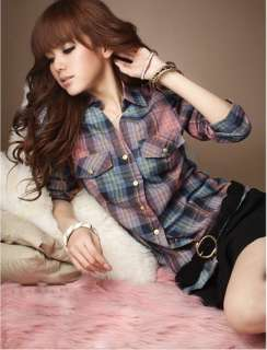 New arrival Womens Plaid Blouse Long sleeve checked button front