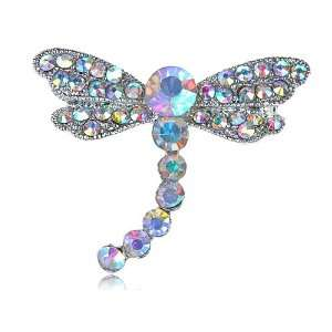 Petite Slender Aurora Borealis Crystal Rhinestone Dragonfly Fashion