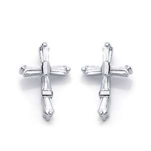 14K White Gold Plated Sterling Silver Cross CZ Stud Screw