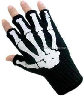 Mens Fingerless Gloves Black White Skeleton Bone Work