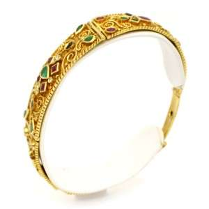 Vintage 18k Yellow Gold Diamond Emerald Sapphire Ruby Bracelet