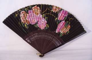 Ladies Hand Fan Vintage Paper, Roses Cut Out Sticks