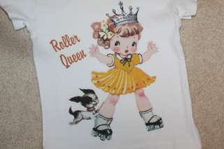 Vintage Lucys ~ Roller Girl Queen Tee Shirt Skating ~ Boutique