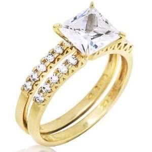 14k Yellow Gold 3.33 ctw Cubic Zirconia Princess Cut Double Band Rings