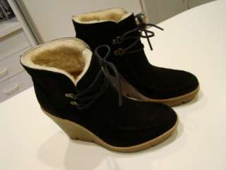 Women ' s Michale Kors black suede shearling lined ankle wedge boots