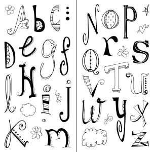 Inkadinkado Doodle Alphabet Clear Stamps Arts, Crafts