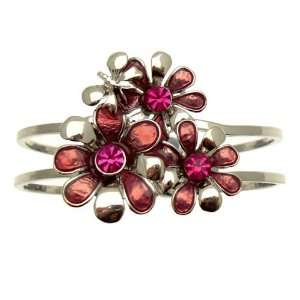 Pink Crystal & Enamel Flower   Silver Floral Costume Bangle / Bracelet