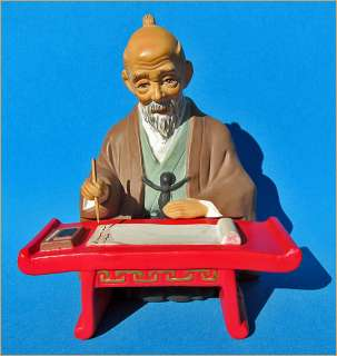 VINTAGE ~ 1960s JAPANESE ELDERLY MAN WRITING TILSO HAKATA DOLL JAPAN
