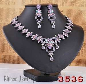 Flowers Leafs AB Rhinestone Crystal Bridal Prom Necklace Earrings