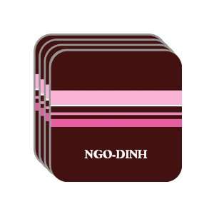 Personal Name Gift   NGO DINH Set of 4 Mini Mousepad Coasters (pink