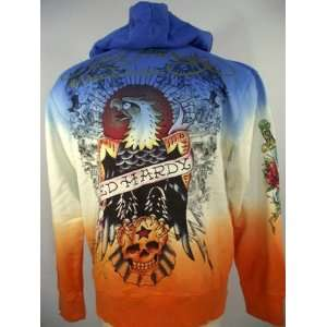 ED HARDY MENS DIP DYE FADE SPECIALTY EAGLE CREST HOODIE