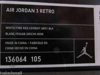 Nike Air Jordan 3 III Retro 2011 Cement Fire Red 136064 105 Sz 13