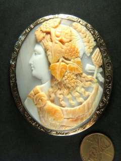 ANTIQUE 9K CARVED SHELL CAMEO PIN BROOCH DIONYSUS / BACCHUS c1870